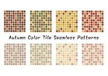 秋カラーのタイルパターンのセット