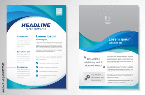 Obraz Template vector design for Brochure, AnnualReport, Magazine, Poster, Corporate Presentation, Portfolio, Flyer, infographic, layout modern with blue color size A4, Front and back, Easy to use and edit. - fototapety do salonu
