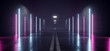 Neon Glowing Sci Fi Futuristic Retro Modern Asphalt Grunge Cement Concrete Tunnel Corridor Hall Garage Purple Blue LIghts Empty Background Alien 3D Rendering