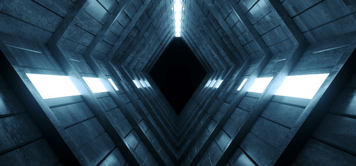 Concrete Cement Sci Fi Futuristic Dark Abstract Alien Spaceship Tunnel Corridor Blue White LIghts Empty Background Underground 3D Rendering