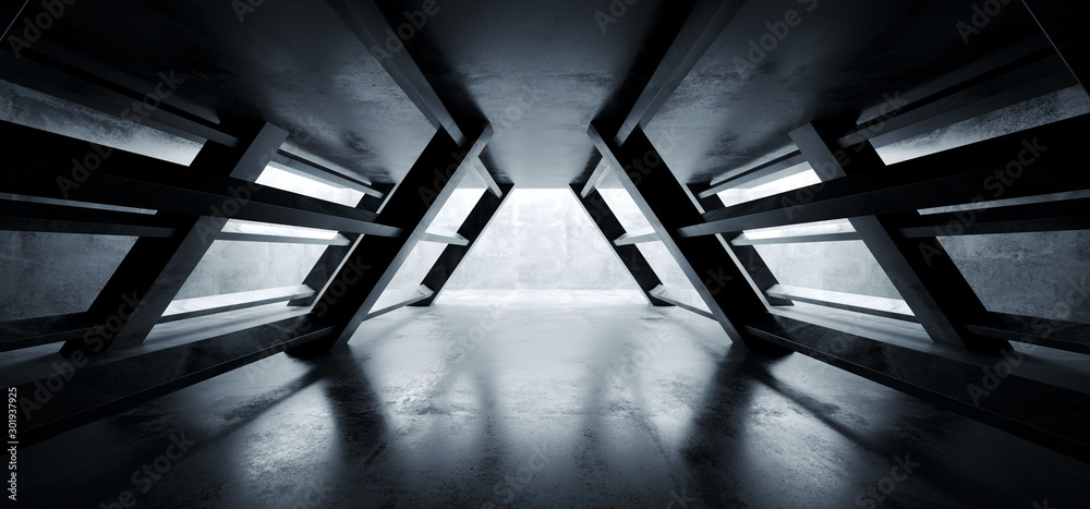 Fototapeta Triangle Shaped Cement Concrete Underground Structures Construction Tunnel Corridor Dark Empty Night Sci Fi Futuristic Led Lights White 3D Rendering