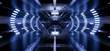 Triangle Concrete Sci FI Futuristic Tunnel Corridor Oval Led Laser Neon Lights Glowing Blue Abstract Background Stage Show 3D Rendering