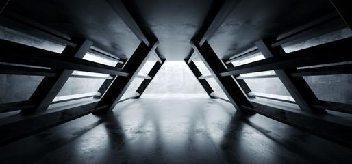 Triangle Shaped Cement Concrete Underground Structures Construction Tunnel Corridor Dark Empty Night Sci Fi Futuristic Led Lights White 3D Rendering
