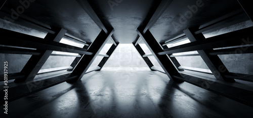 Triangle Shaped Cement Concrete Underground Structures Construction Tunnel Corridor Dark Empty Night Sci Fi Futuristic Led Lights White 3D Rendering - 301937925