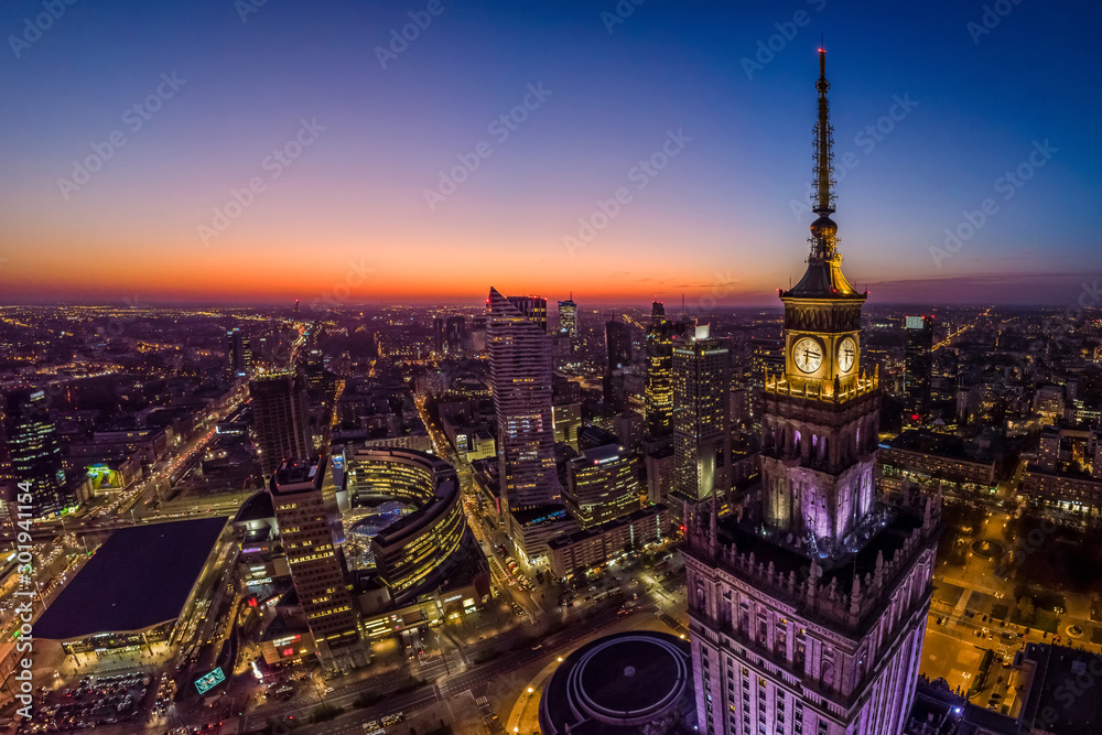 Fototapety, obrazy: Warsaw city center and Warsaw skyscrapers at dusk aerial view