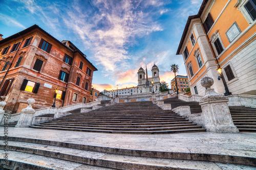 Photo sur Aluminium Con. Antique Spanish Steps near Piazza Di Spagna in Rome