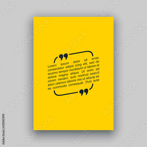 Fototapety, obrazy: Quote speech bubble blank templates set. Text in brackets on flat paper, citation frames, quote bubbles. Textbox isolated on color background. Modern typography flat design cloud. Vector illustration.
