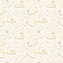 Vector Holiday Or Birthday Seamless Pattern. Hand Drawn Doodle Balloons, Buntings Flags, Gift Boxes And Stars. Golden Festive Background. Golden Holiday Wallpaper
