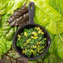 Pan Fried Swiss Chard Leaves. Vegetarian Or Vegan Diet, Healthy Food Concept.