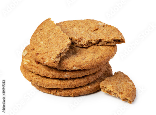 Oatmeal Cookie on a white background Canvas Print
