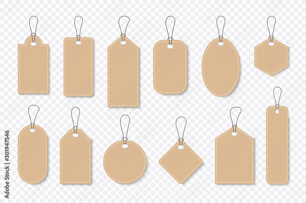 Fototapeta Set of sale tags and labels, template shopping labels. Blank, discount and price tags on paper. Special offer. Vintage. Vector illustration.