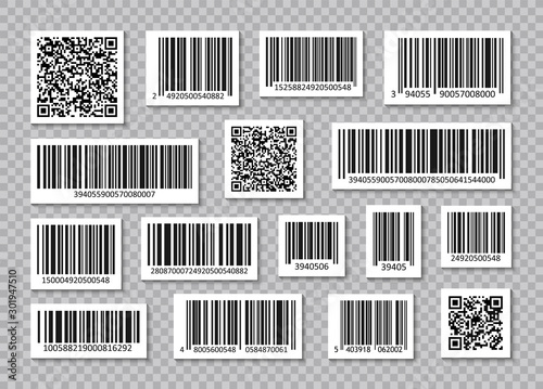 Set of Bar Code and qr codes Canvas-taulu