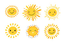 Cute Sun Icon Vector Set. Hand...