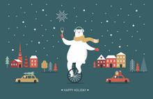 Christmas Card, Seasons Greetings, Polar Bear Is Going By Monocycle, Unicycle