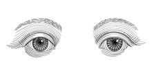 Vintage Engraved Eyes, Tattoo Flash, Hand Drawn Sketch Illustration, Isolated On White Background