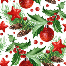 Seamless Pattern With Christmas Symbol - Holly Leaves, Christmas Tree With Cones, Stars And Balls On White Background.