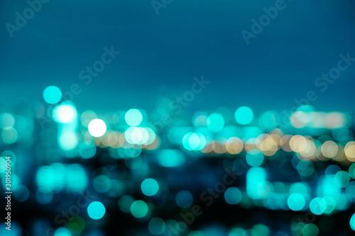 Fotografiet  Abstract neo mint city night light blur bokeh