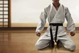 Karate martial arts fighter sitting