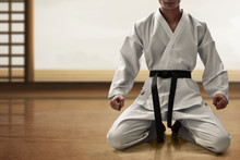 Karate Martial Arts Fighter Sitting