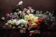 A Bouquet With Many Flowers After A Wedding