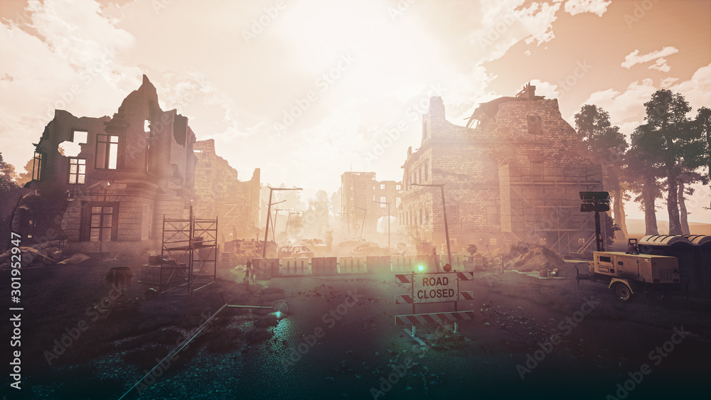 Fototapety, obrazy: Ruins of a city. Apocalyptic landscape post apocalypse 3d render