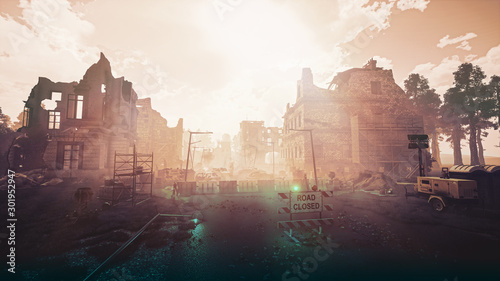 Ruins of a city. Apocalyptic landscape post apocalypse 3d render - 301952947