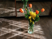 Bouquet Of Orange Tulips And Y...