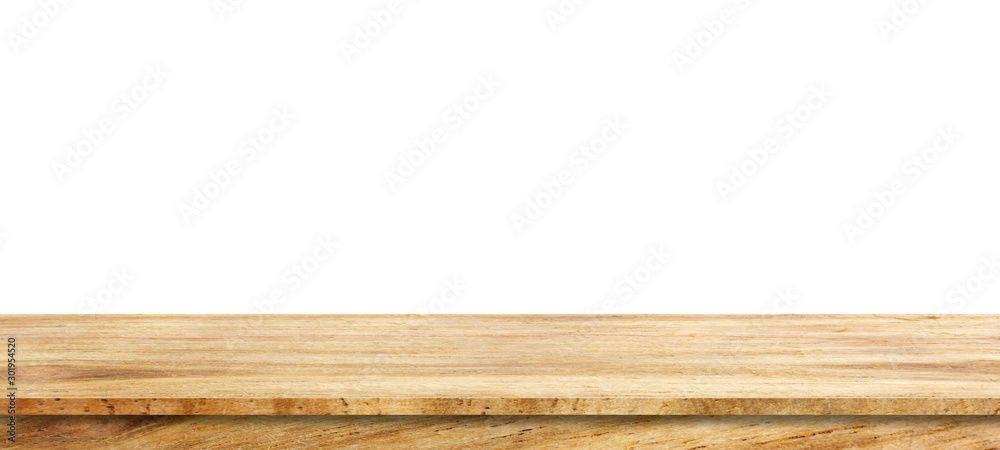 Fototapeta Wooden tabletop isolated on white background Empty rustic wood table,For montage product display or design key visual layout.with clipping path