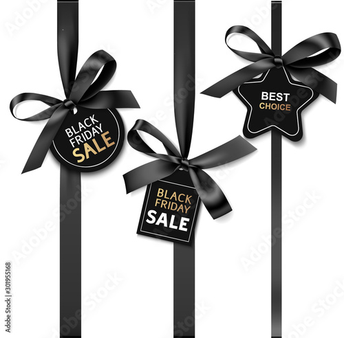 Fotografía  Decorative black bow with price tag for black friday sale design