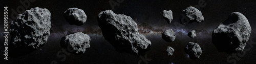 Photo set of asteroids in front of the Milky Way galaxy