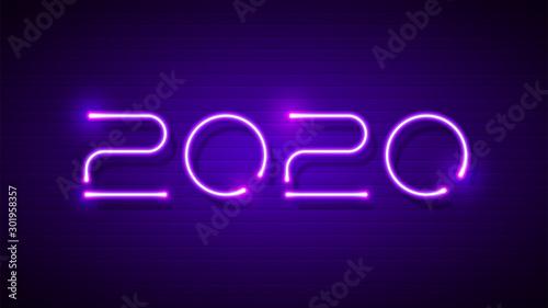 2020 fluorescent text typography