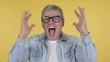Screaming Angry Casual Senior Man on Yellow Background