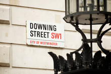 Downing Street Sign In The Political Center Of Westminster, London