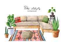 Cozy Room Interior With Sofa, ...
