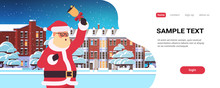 Santa Claus Holding Bell Merry Christmas Happy New Year Holiday Concept Winter Houses Snowy Town Street Greeting Card Portrait Horizontal Copy Space Vector Illustration