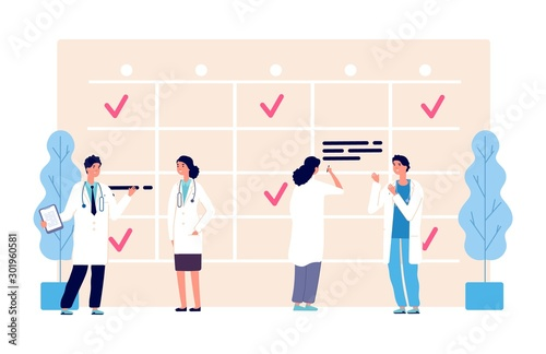 Medical schedule. Doctors work schedule vector illustration. Clinic team, agenda, hospital staff characters. Medical doctor appointment, medicine schedule service - 301960581