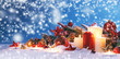 canvas print picture - Christmas composition on snow