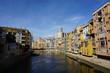Girona, Spain, view from Eiffel Bridge, colourful buildings at the Riu Onyar