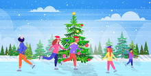 People Skating On Frozen Lake Ice Rink Winter Sport Activity Recreation At Holidays Concept Mix Race Friends Spending Time Together Snowfall Landscape Background Full Length Horizontal Vector