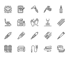 Tattoo, Piercing Equipment Flat Line Icons Set. Tattoo Machine, Needle, Paint, Sketch, Skull, Laser Removal Vector Illustrations. Outline Signs For Studio. Pixel Perfect 64x64. Editable Strokes