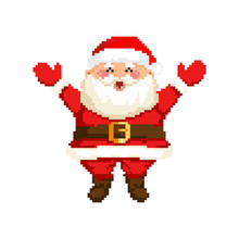 Vector Pixel Art Illustration Of Happy Smiling Santa Claus