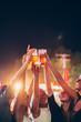 Leinwanddruck Bild - Group of female friends cheering with beer in amusement park