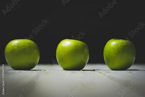 green apple on black background - 301968399