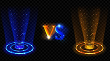 Vs Hologram Effect Circles. Versus Neon Glowing Blue And Red Round Rays For Battle Or Competition Pedestals. Lighting Magic Fantasy Portals Or Futuristic Teleports. Realistic 3d Vector Illustration