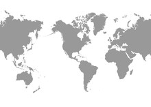 World Map - America In Center