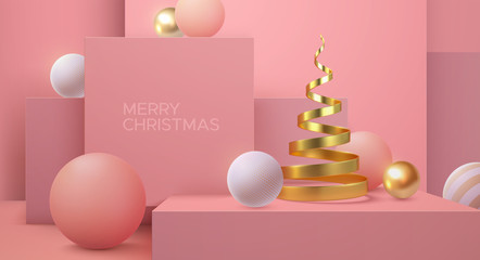 Merry Christmas. Vector holiday illustration. Geometric 3d primitives concept. Minimal style cover. Golden helix and spheres shapes. Party invitation or greeting card design. Abstract interior
