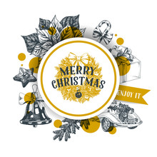 Merry Christmas Hand Drawn Vec...