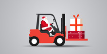 Santa Claus Driving Forklift Truck Loading Colorful Gift Present Boxes Delivery And Shipping Concept Merry Christmas Happy New Year Winter Holidays Celebration Horizontal Sketch Vector Illustration