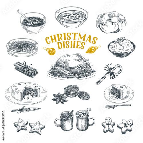 Christmas dishes hand drawn illustrations set - 301969330