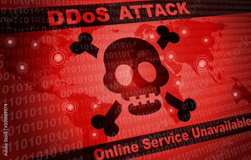Fotografie, Obraz DDOS Attack Malware Hacker Around The World Background